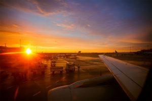 zachód słońca lotnisko